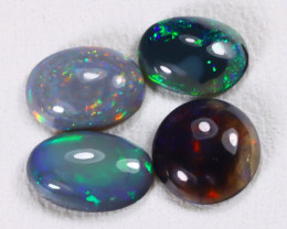 1.77Ct 4Pcs Natural Australian Lightning Ridge Black Opal Lot E1702