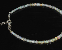 13.05 CT OPAL BRACELET MADE OF NATURAL ETHIOPIAN BEADS STERLING SILVER OBB1
