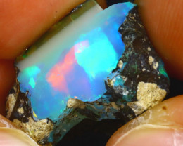 11.40Ct Multi Color Play Ethiopian Welo Opal Rough JF1911/R2