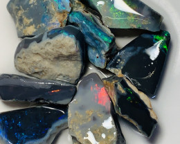 BLACK WITH RED & ALL THE COLOURS- BLACK SEAM ROUGH OPALS# 1433