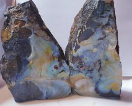 Rough boulder opal split speciment