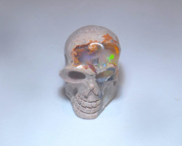 10.21ct Skull Mexican Cantera Multicoloured Fire Opal Pendant