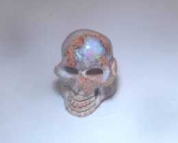 11ct Skull Mexican Cantera Multicoloured Fire Opal Pendant