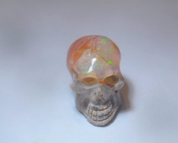 11.03ct Skull Mexican Cantera Multicoloured Fire Opal Pendant