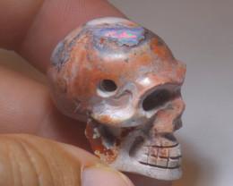 70ct Skull Mexican Cantera Multicoloured Fire Opal Pendant