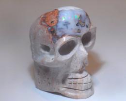 80ct Skull Mexican Cantera Multicoloured Fire Opal Pendant