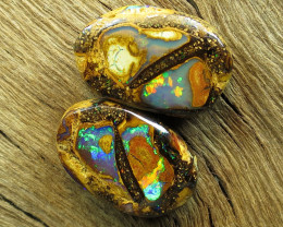 29cts, GEM FLASH YOWAH OPAL~NUT PAIR.