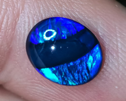 1.70 cts SOLID BLACK OPAL LIGHTNING RIDGE GEM $1 N/R AUCTION B0C210920
