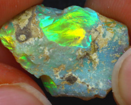 9.84Ct Multi Color Play Ethiopian Welo Opal Rough JF2518/R2