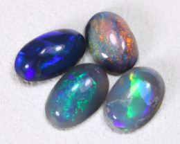 0.61Cts 4Pcs Australian Lightning Ridge Black Opal Parcel Lot ES0343