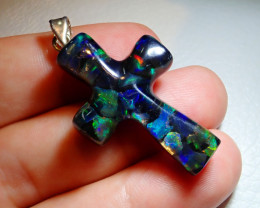 20.6ct Mexican Fire Opal Inlaid Cross