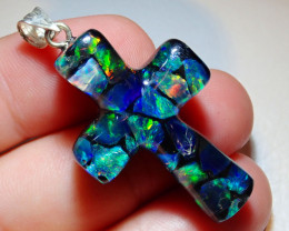 22.25ct Mexican Fire Opal Inlaid Cross