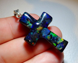 18.9ct Mexican Fire Opal Inlaid Cross