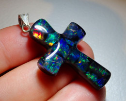 21.36ct Mexican Fire Opal Inlaid Cross