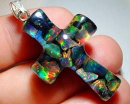 21.23ct Mexican Fire Opal Inlaid Cross
