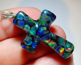 19.86ct Mexican Fire Opal Inlaid Cross