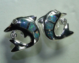 Australian Solid Opal 925 Silver Dolphin Earrings With CZ's *