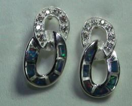 Australian Solid Opal 925 Silver Earrings With Cubic Zirconia *