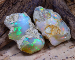 Welo Rough 32.12Ct Natural Ethiopian Play Of Color Rough Opal D2801