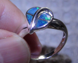 Australian Solid Opal inlay Sz 6.5 Sterling Silver Ring *