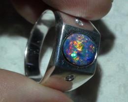 Australian Opal SZ 9 Doublet Sterling  Silver Men's Ring With Cz