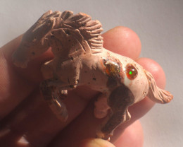 Unique Nature Beauty Gift Matrix Opal Carving Mesmerizing Horse
