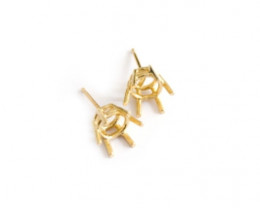 6 Claw Earring Collets | 18ct Gold