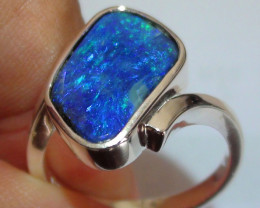 925 Solid Silver Ring With Blue Green Boulder Opal