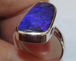 925 Solid Silver Ring With Blue Boulder Opal