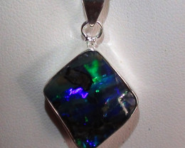 Stunning 925 Solid Silver Gem Blue Green Boulder Opal Pendant