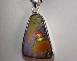 Stunning 925 Solid Silver Gem Multi Color Boulder Opal Pendant