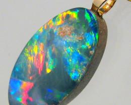 Australian Genuine Opal Pendant 14k Gold Doublet 4.75ct