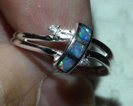 Australian Solid Opal lnlay SZ 6.25 Silver Ring With CZ'S*