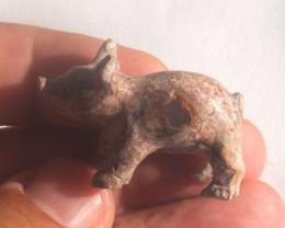 59.64ct Unique Nature Beauty Gift Matrix Opal Carving Mesmerizing Pig