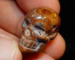 36.5ct Unique Nature Beauty Gift Matrix Opal Carving Mesmerizing Skull