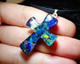 22.7ct Mexican Fire Opal Inlaid Cross