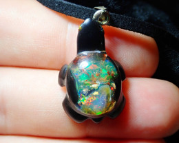 11.40ct Mexican Fire Opal Inlaid Turtle