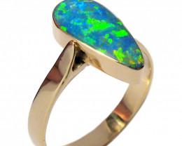 Genuine Precious Australian Opal Inlaid Ring  2.5g Sz 7 14k D35