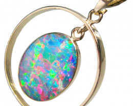Australian Opal Pendant 14kt Gold 9.35ct Inlaid Doublet Gift D33