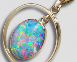 Australian Opal Pendant 14kt Gold 9.35ct Inlaid Doublet Gift D33