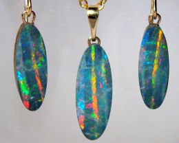 Australian Opal Earrings & Pendant Set 14k Doublets 15ct D37