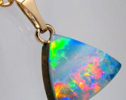 Australian Opal Doublet Pendant 2.9ct 14kt Gold Genuine Fine Jewelry Gift D