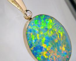 Australian Opal Pendant 21.8ct 14k Gold Large Jewelry Gift #D31