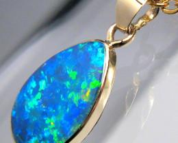 Australian Opal Pendant 2.55ct 14k Gold Cute Gem Necklace #D41