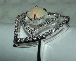 Opal Sz 7.25 Australian Coober Pedy Crystal 925 Silver Ring With Cz's *