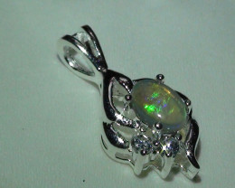 Opal Australian Coober Pedy Crystal Sterling Silver Pendant With cz's *