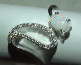 Opal Sz 7 Australian Coober Pedy Crystal Sterling Silver Ring With cz's *
