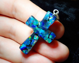 Coming Soon Do Not Bid Mexican Fire Opal Inlaid Cross