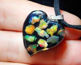 Coming Soon Do Not Bid Mexican Fire Opal Inlaid Heart