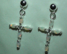 Opal Australian Coober Pedy Solid Crystal Silver Earring's With Cz's  *